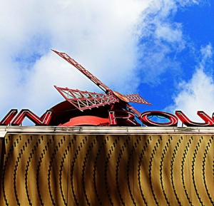 Looking up at the moulin rouge red mill